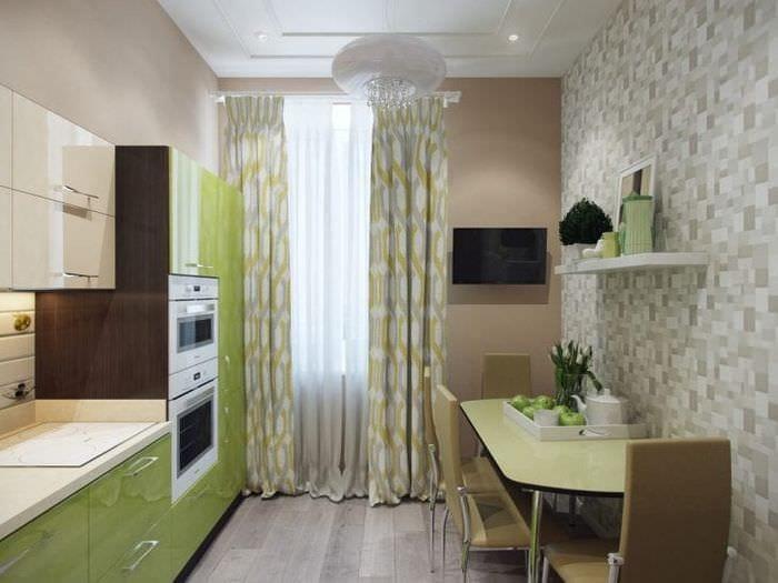 Мозаичные обои для маленькой кухни в теплом зеленом цвете
