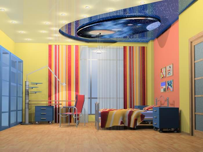Разноуровневый натяжной потолок для большой десткой