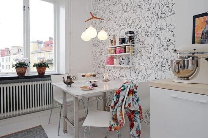 Обои для стен кухни в интерьере фото