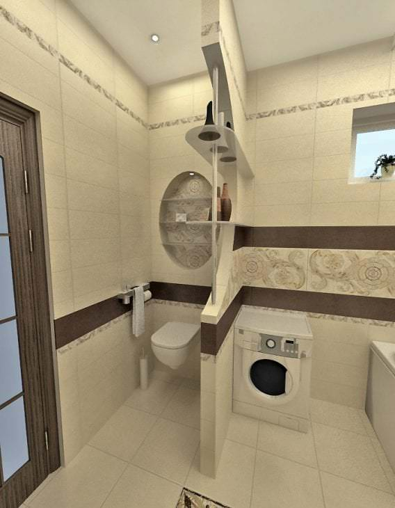 Дизайн совмещённой ванной комнаты и санузла