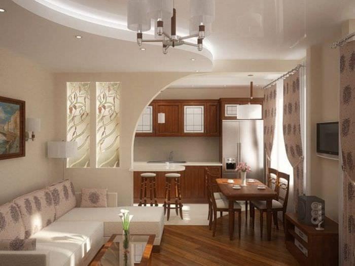 Совмещенный зал и кухня дизайн