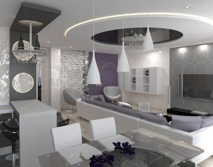 Оригинальная идея дизайна комнаты с разделением для столовой и гостиной