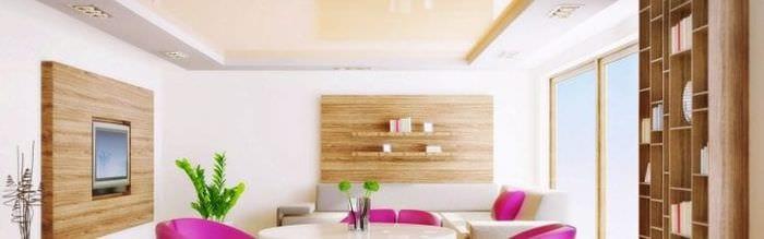 Плюсы белого натяжного потолка для светлой и большой гостиной