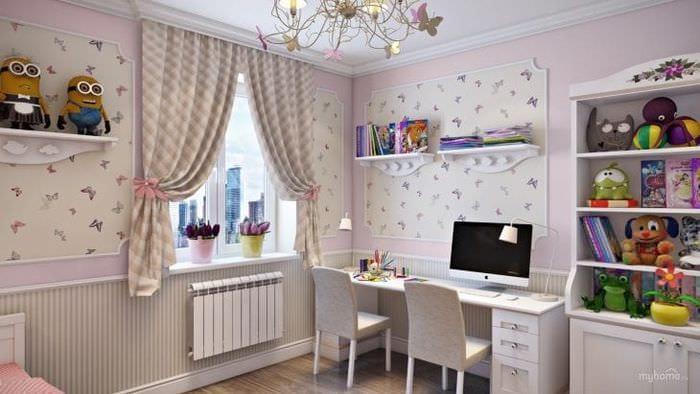 Дизайн-проект светлых обоев для детской комнаты для девочек