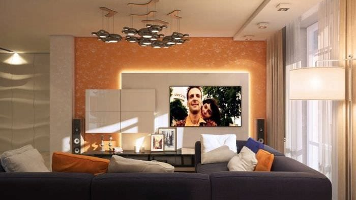 Стильная гостиная в бело-оранжевом цвете