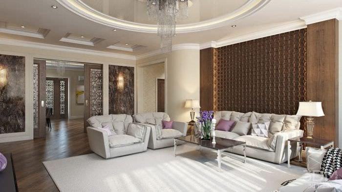 Мебель в интерьере гостиной в стиле минимализм