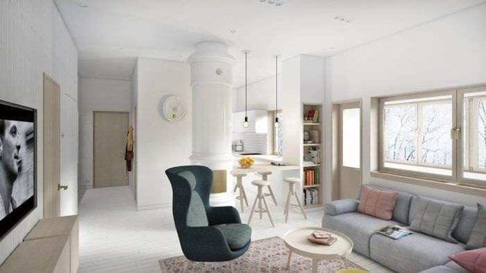 Стильный дизайн гостиной в белом цвете