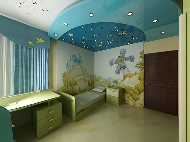 Красивый натяжной потолок для десткой комнаты