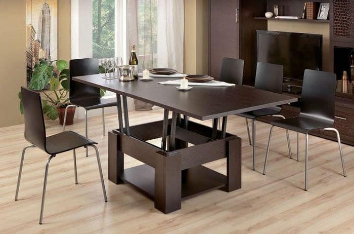 Стол – трансформер благородного темного шоколадного цвета