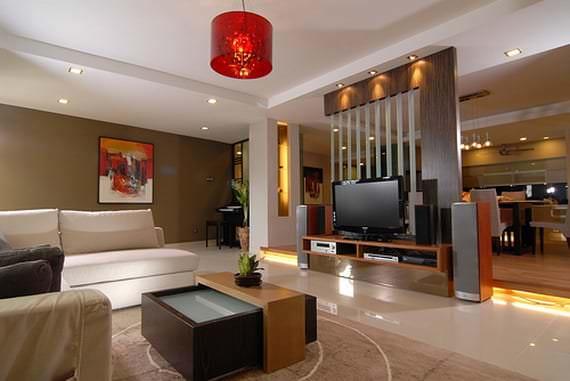 Декор натуральными материалами для гостиной в стиле минимализм