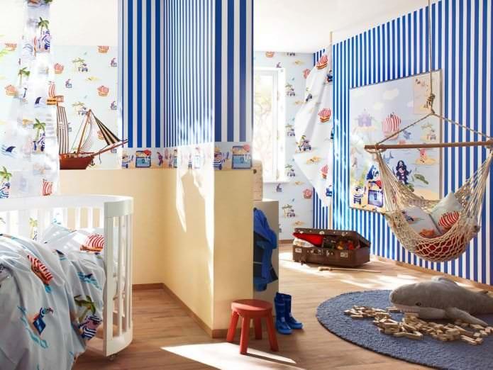 Оформление стен и пол в детской комнате в морском стиле