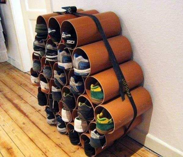 этажерка из металличеких труб для обуви