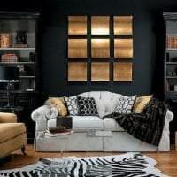 черные обои в дизайне спальни в стиле минимализм фото