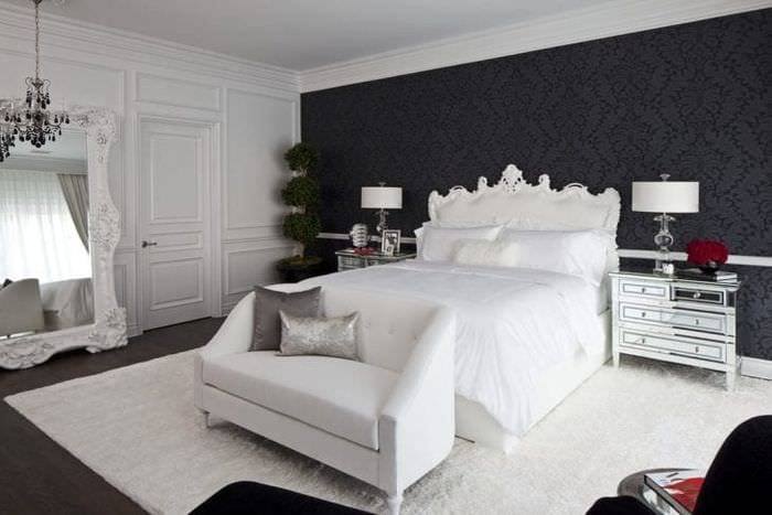 черные обои в интерьере комнаты в стиле лофт