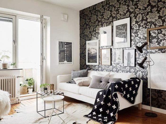 черные обои в дизайне гостиной в стиле авангардизм