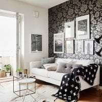 черные обои в дизайне спальни в стиле гламур картинка