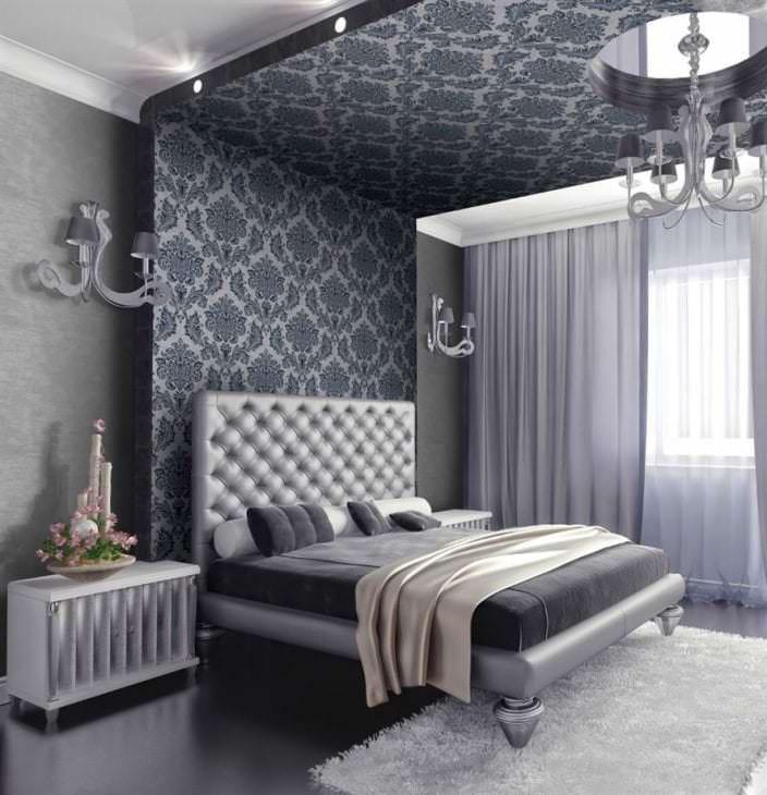 черные обои в интерьере комнаты в стиле необарокко