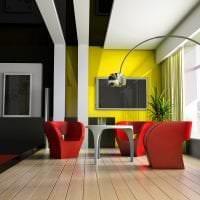 черные обои в интерьере комнаты в стиле хай тек фото