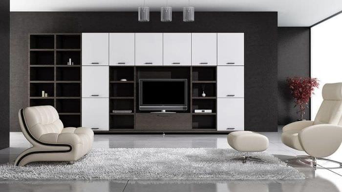 черные обои в интерьере гостиной в стиле авангардизм