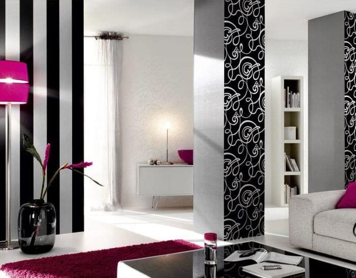 черные обои в дизайне спальни в стиле необарокко