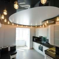 натяжной черный потолок в стиле гостиной фото