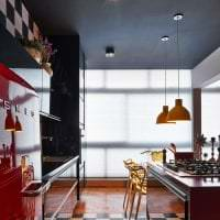 натяжной черный потолок в дизайне квартиры картинка