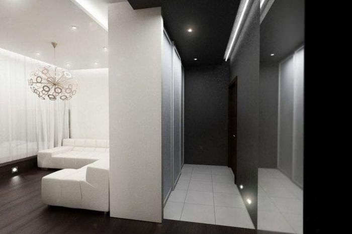 натяжной черный потолок в стиле кухни