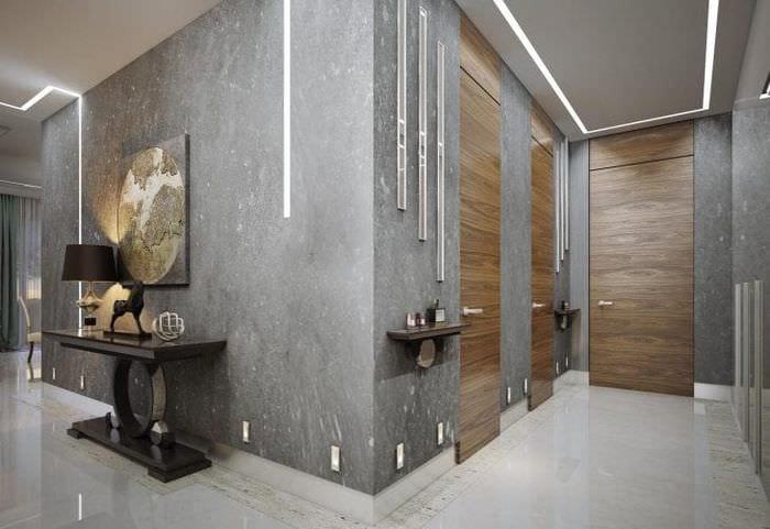 дизайн потолка с бетоном в квартире