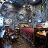 дизайн квартиры в стиле стимпанк с кожаной оббивкой картинка