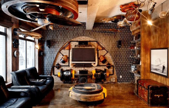 интерьер квартиры в стиле стимпанк с эффектом старины