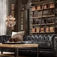 дизайн гостиной в стиле стимпанк с кожаной оббивкой картинка