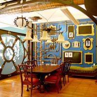 дизайн коридора в стиле стимпанк с деревянным паркетом фото