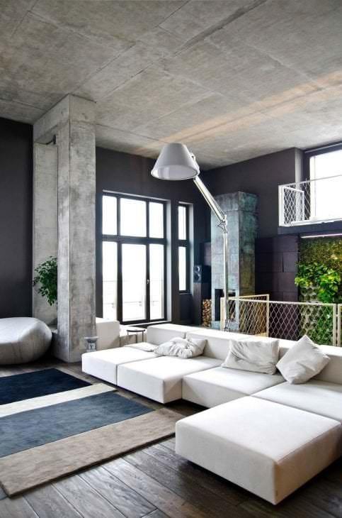 стиль потолка с раствором бетона в квартире
