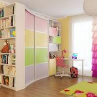 интерьер углового шкафа в спальне из дерева фото