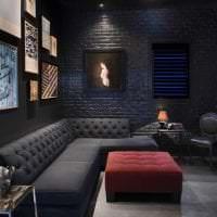 необычный декор спальни в черном цвете фото