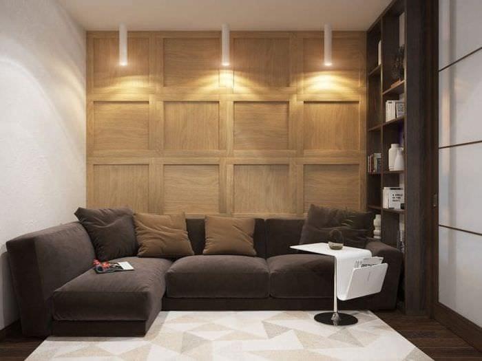красивый угловой диван в дизайне спальни