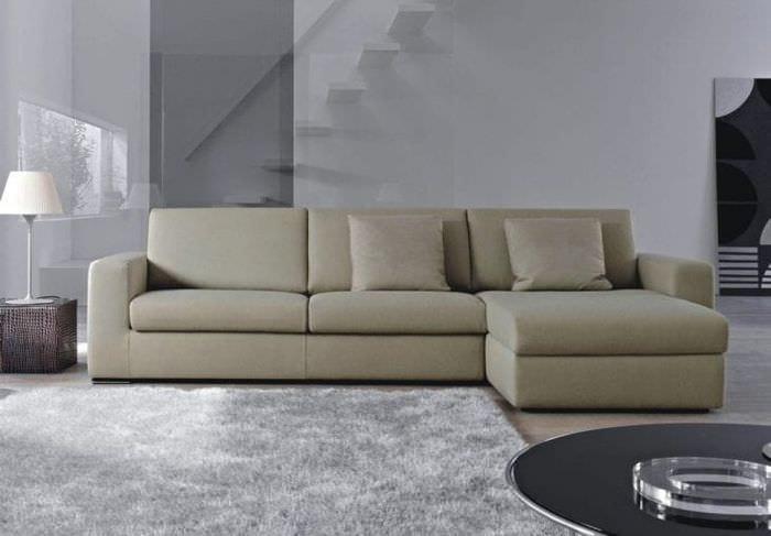кожаный угловой диван в стиле гостиной