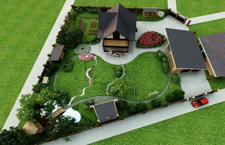 Дачный ландшафтный дизайн участок