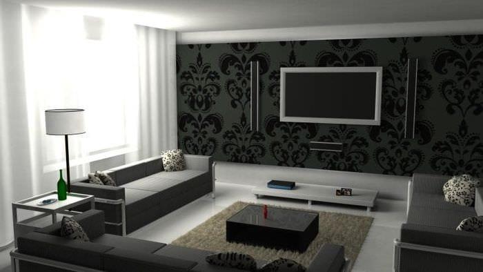 красивые темные обои в интерьере гостиной