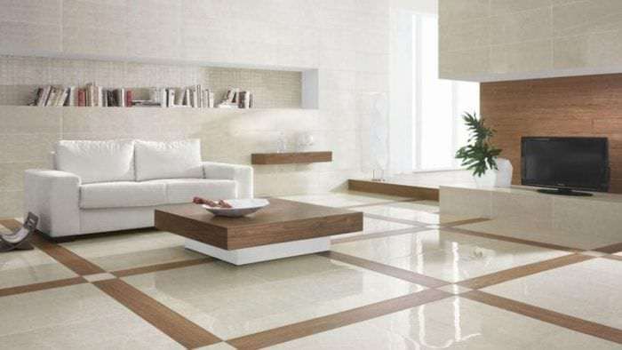 красивый белый пол в стиле квартиры