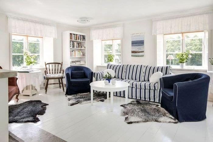 светлый белый пол в дизайне спальни