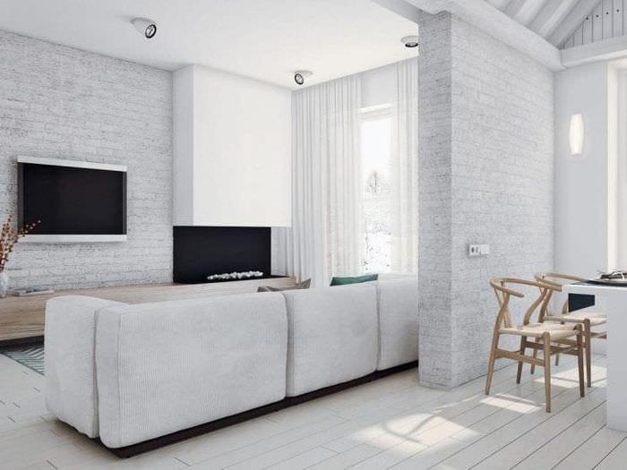красивый белый пол в интерьере гостиной
