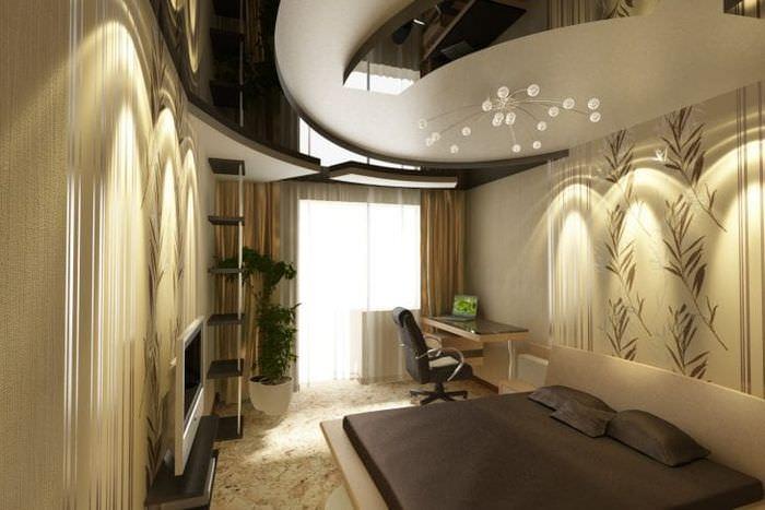 Дизайн натяжного потолка для узкой комнаты