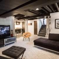 натяжной черный потолок в дизайне спальни фото