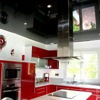 красивый черный потолок в стиле кухни картинка