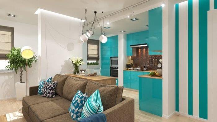 яркий цвет тиффани в дизайне кухни