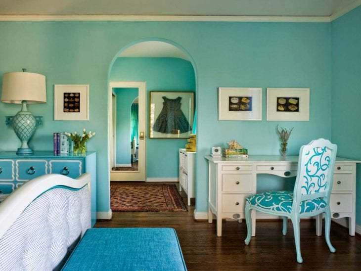 красивый цвет тиффани в стиле комнаты