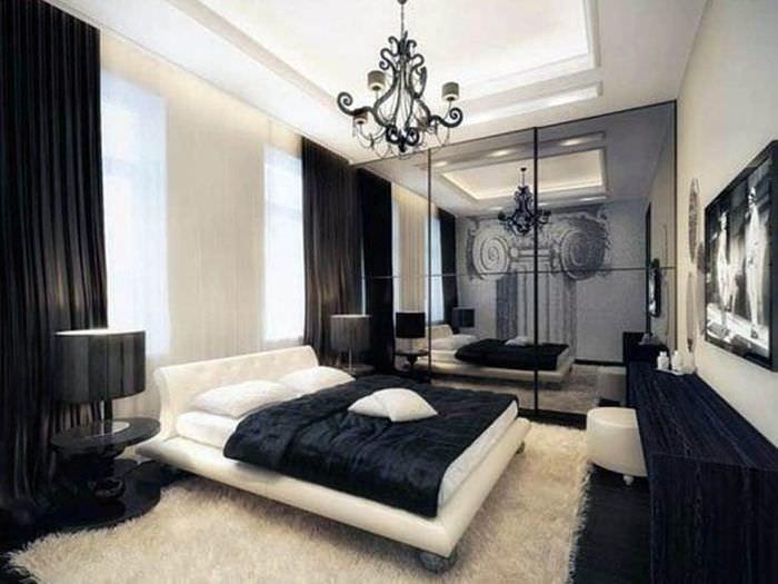 необычный интерьер квартиры в черном цвете