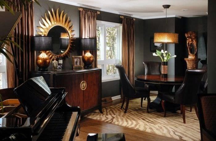светлый стиль гостиной в этническом стиле