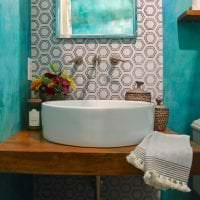 красивый интерьер кухни в бирюзовом цвете фото
